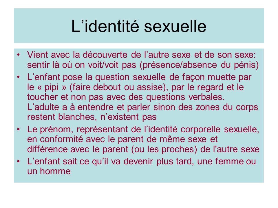L'identité sexuelle Vient avec la découverte de l'autre sexe et de son sexe: sentir là où on voit/voit pas (présence/absence du pénis)