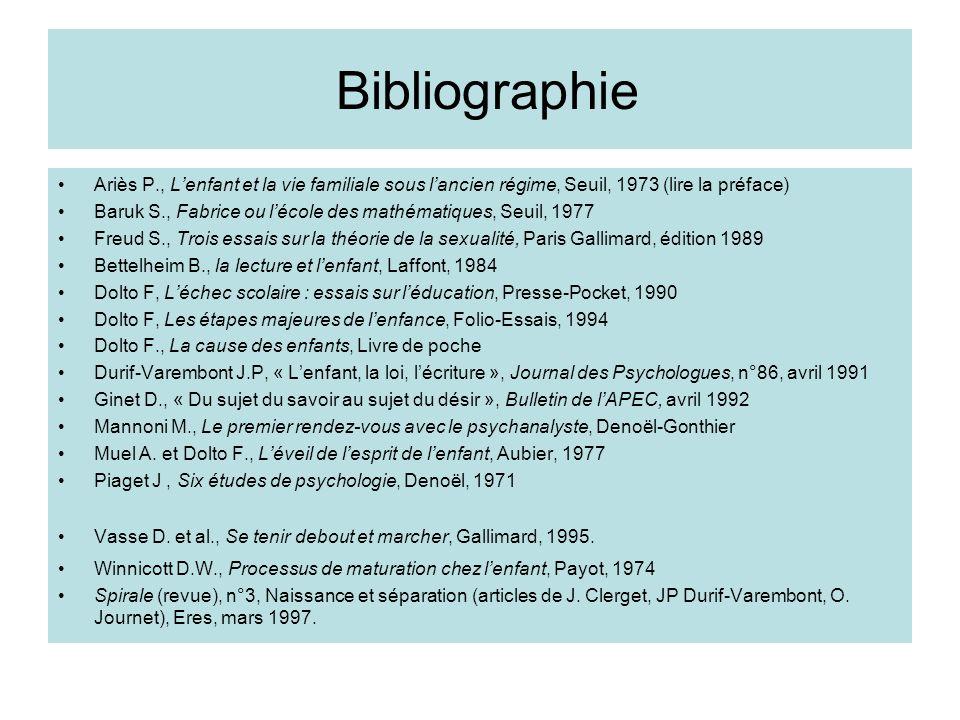 Bibliographie Ariès P., L'enfant et la vie familiale sous l'ancien régime, Seuil, 1973 (lire la préface)