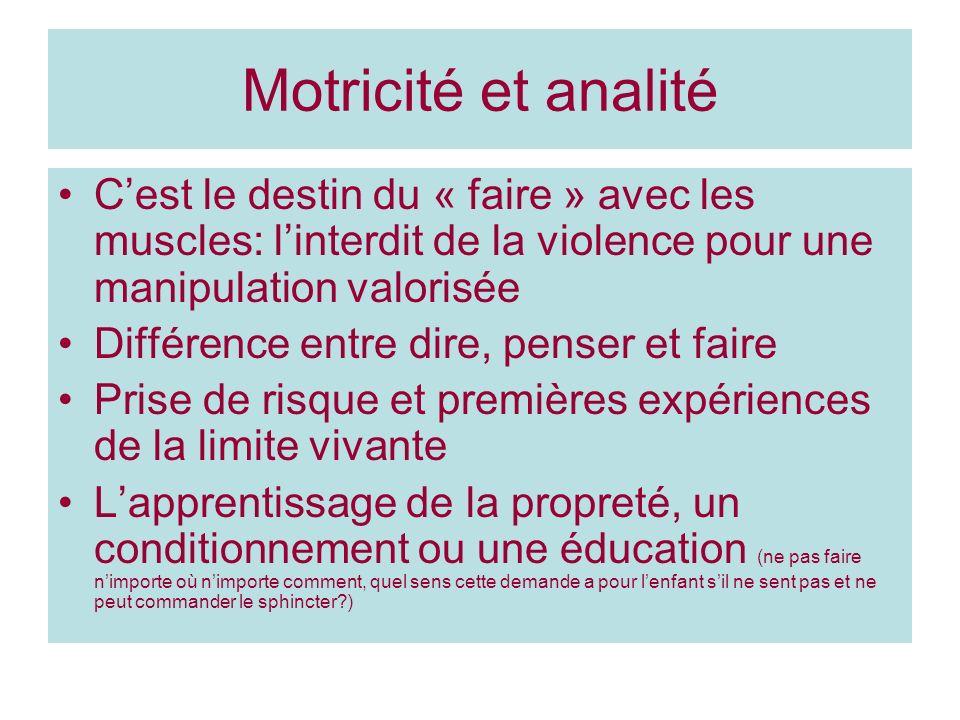 Motricité et analité C'est le destin du « faire » avec les muscles: l'interdit de la violence pour une manipulation valorisée.