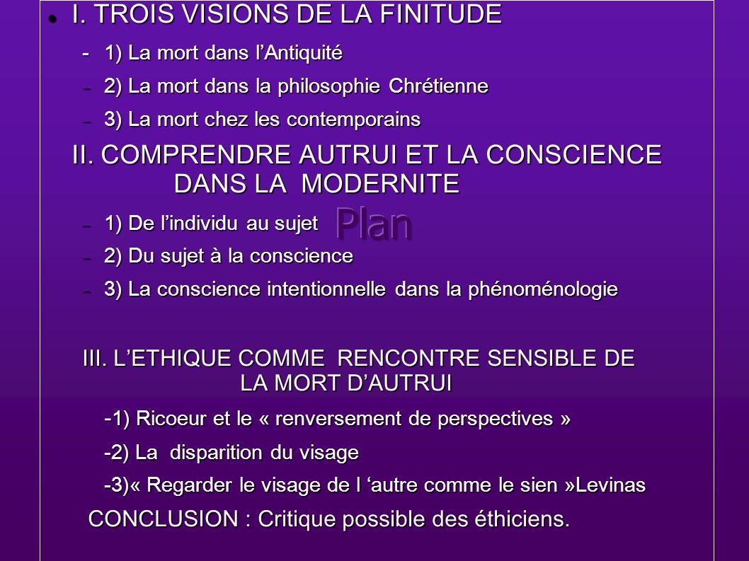 Plan I. TROIS VISIONS DE LA FINITUDE