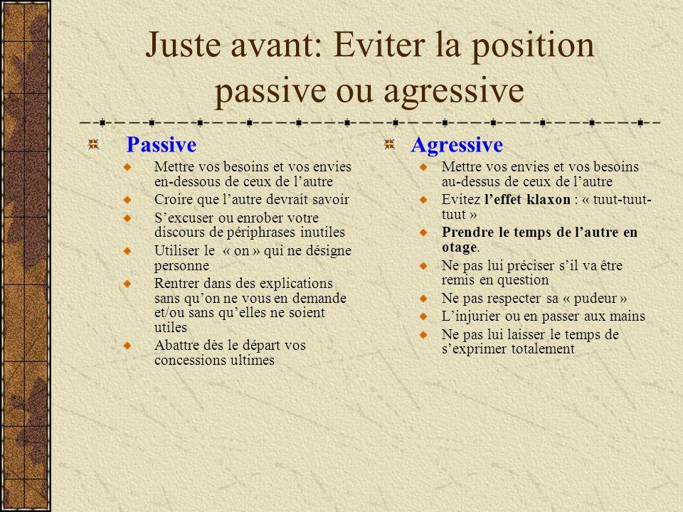 Juste avant: Eviter la position passive ou agressive