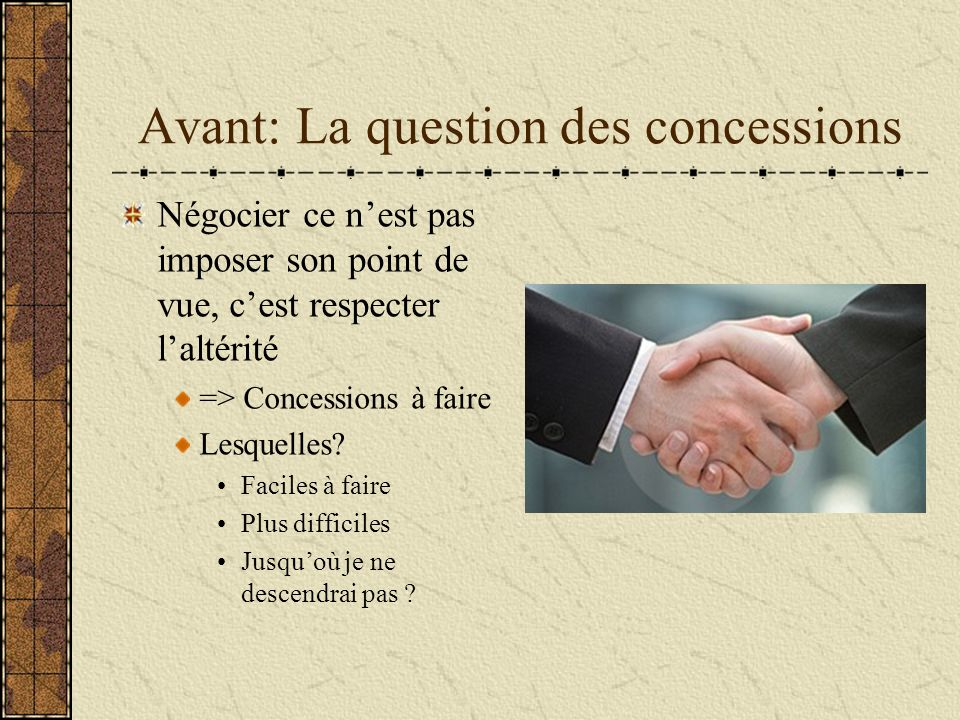 Avant: La question des concessions