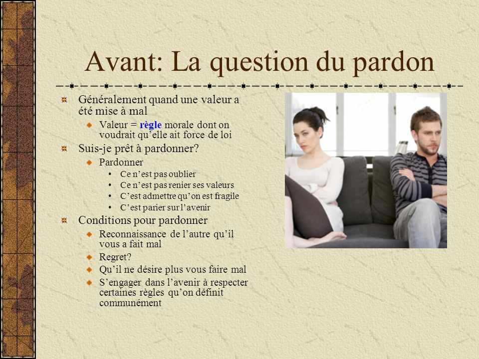 Avant: La question du pardon