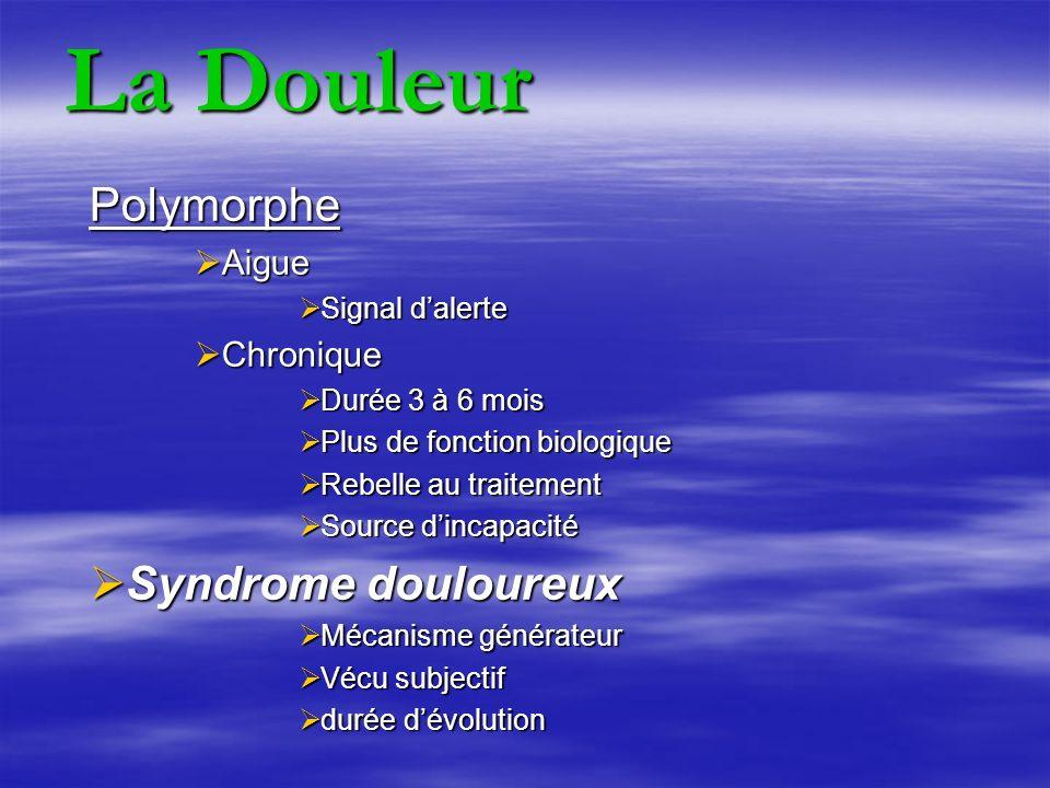 La Douleur Polymorphe Syndrome douloureux Aigue Chronique