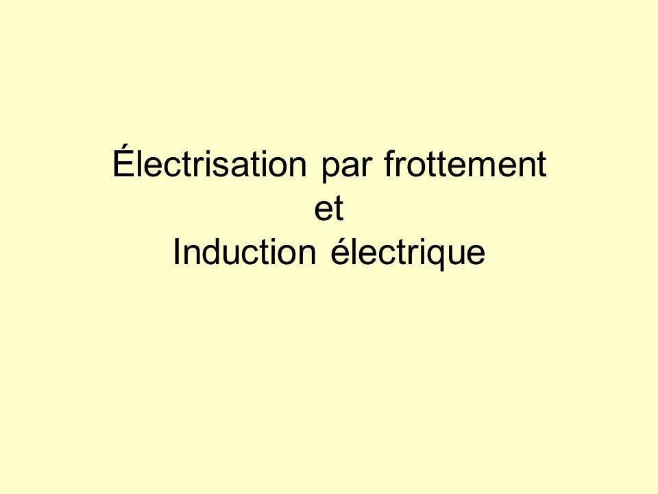 Électrisation par frottement et Induction électrique