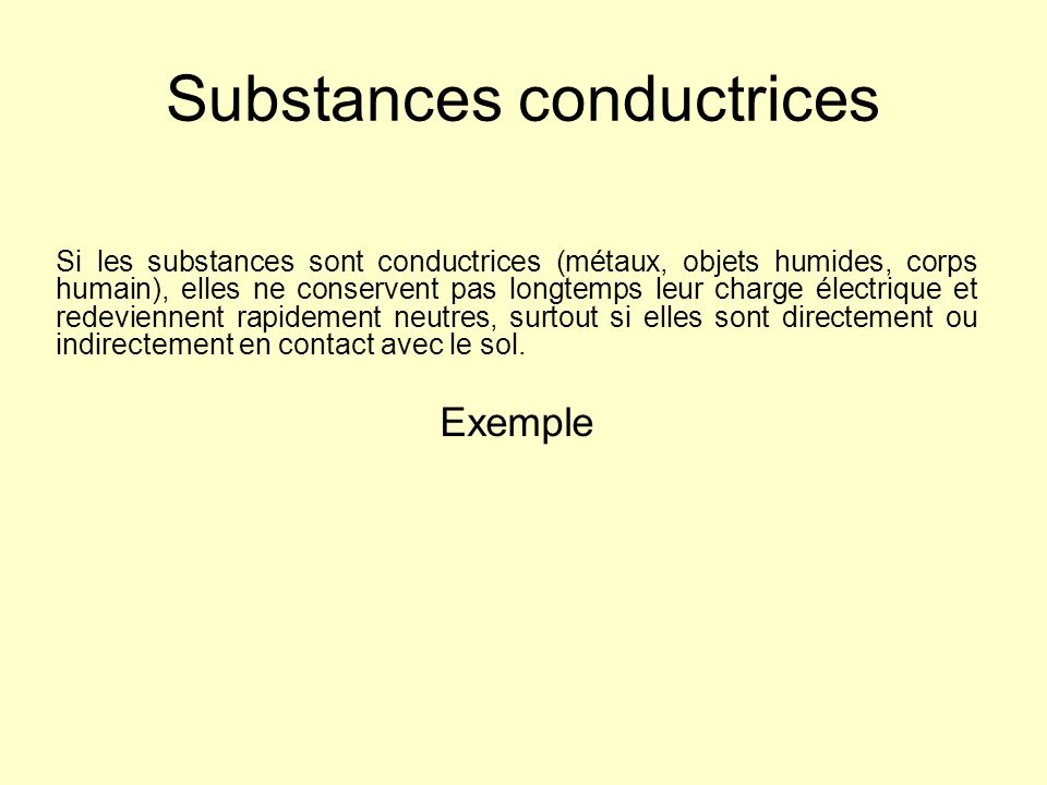 Substances conductrices