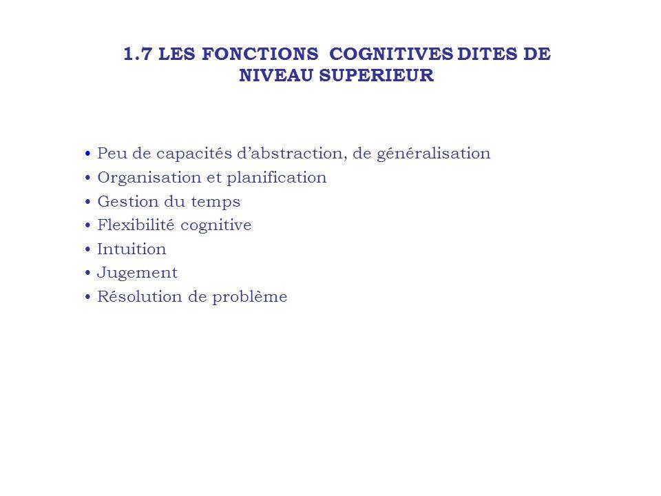1.7 LES FONCTIONS COGNITIVES DITES DE NIVEAU SUPERIEUR