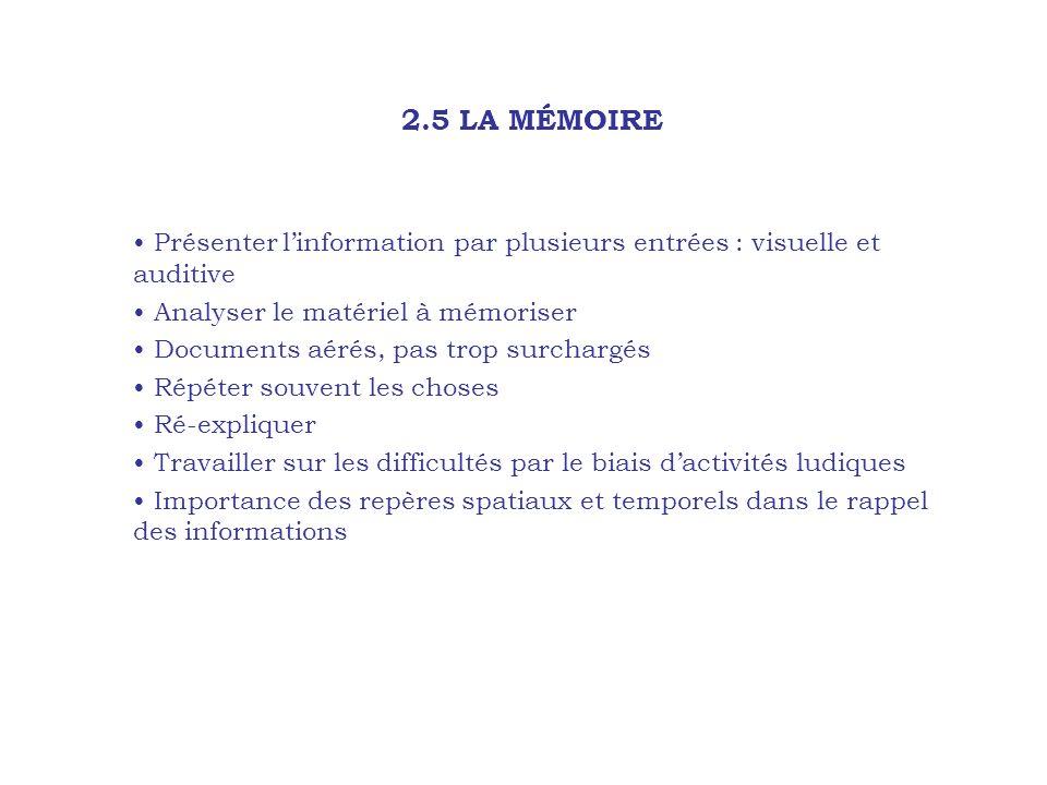 2.5 LA MÉMOIRE Présenter l'information par plusieurs entrées : visuelle et auditive Analyser le matériel à mémoriser