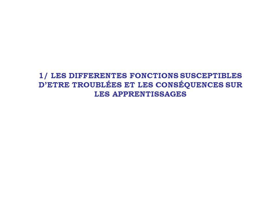 1/ LES DIFFERENTES FONCTIONS SUSCEPTIBLES D'ETRE TROUBLÉES ET LES CONSÉQUENCES SUR LES APPRENTISSAGES