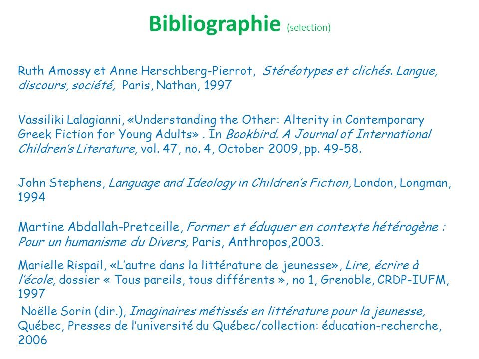 Bibliographie (selection)