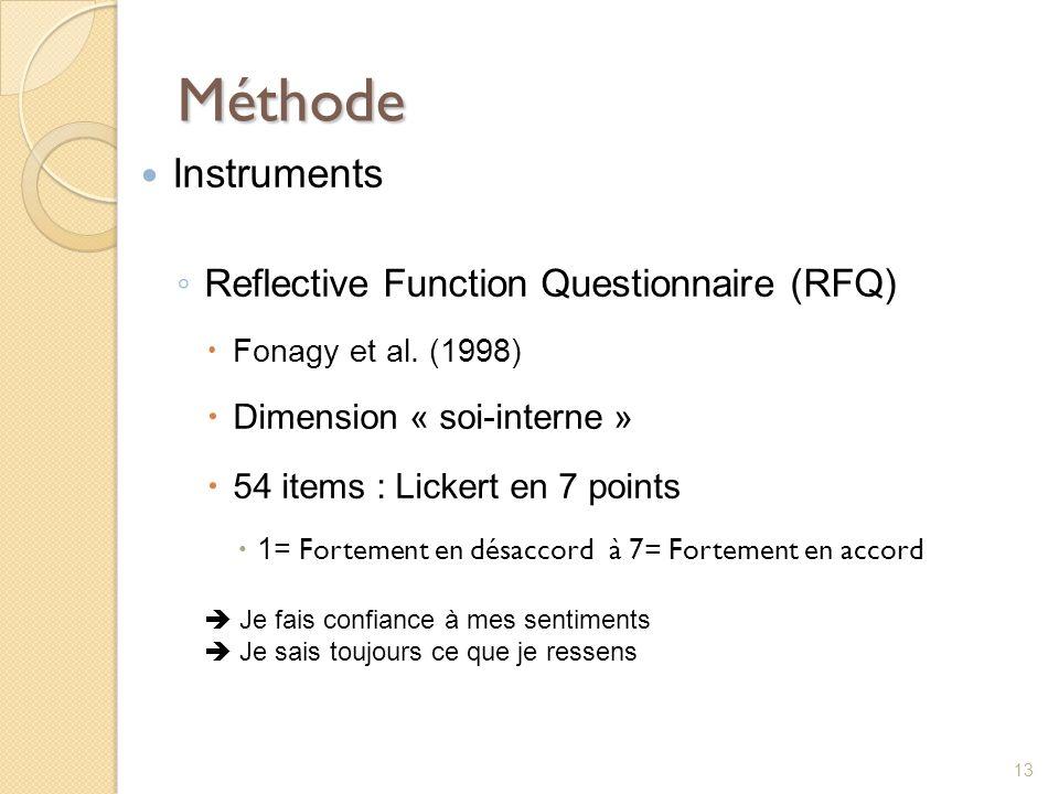Méthode Instruments Reflective Function Questionnaire (RFQ)