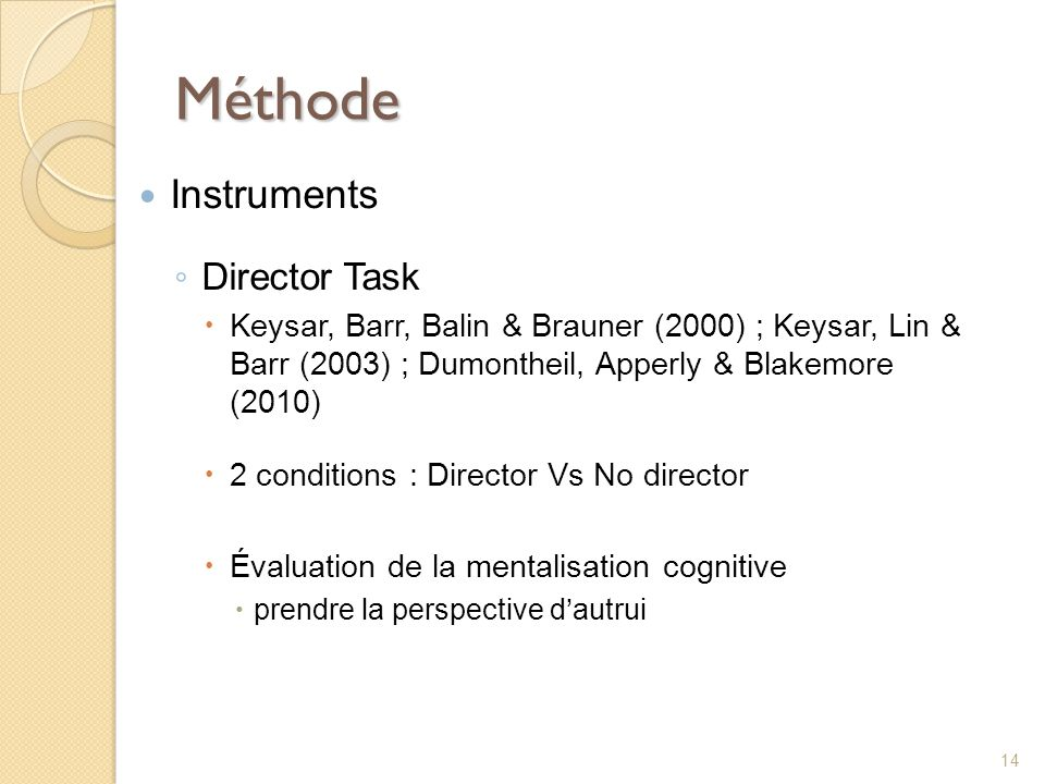 Méthode Instruments Director Task
