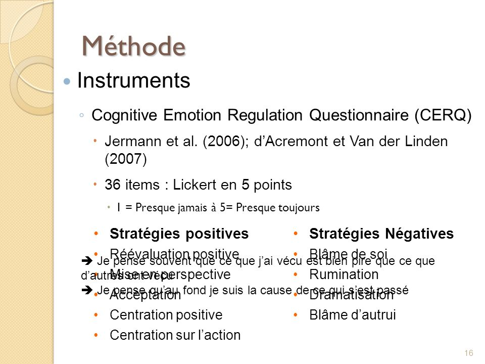 Méthode Instruments Cognitive Emotion Regulation Questionnaire (CERQ)