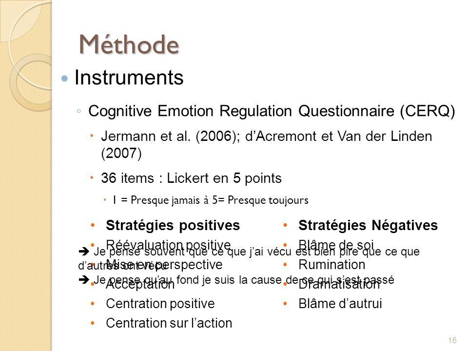 Méthode Instruments Cognitive Emotion Regulation Questionnaire (CERQ)