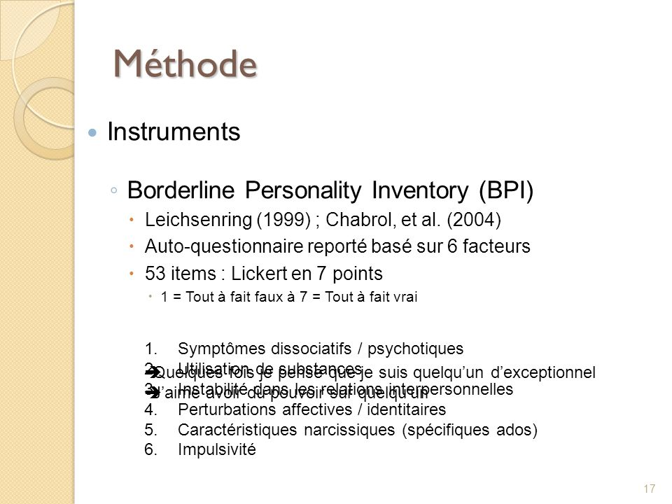 Méthode Instruments Borderline Personality Inventory (BPI)