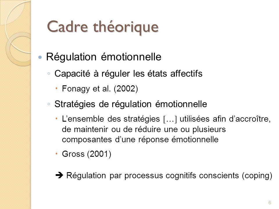 Cadre théorique Régulation émotionnelle