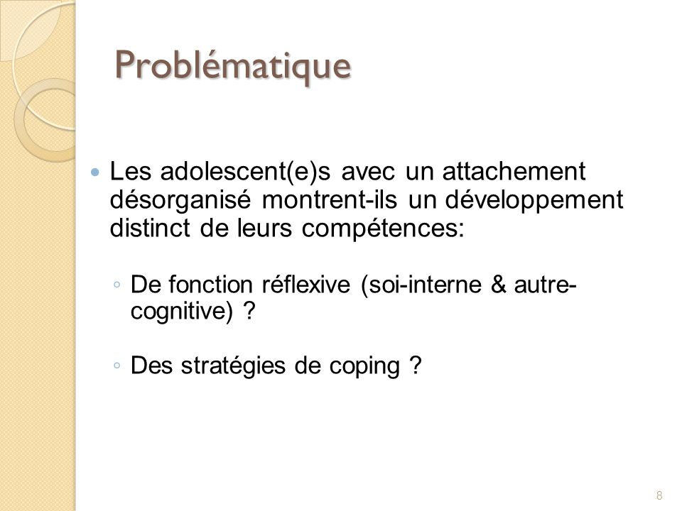 Problématique Les adolescent(e)s avec un attachement désorganisé montrent-ils un développement distinct de leurs compétences: