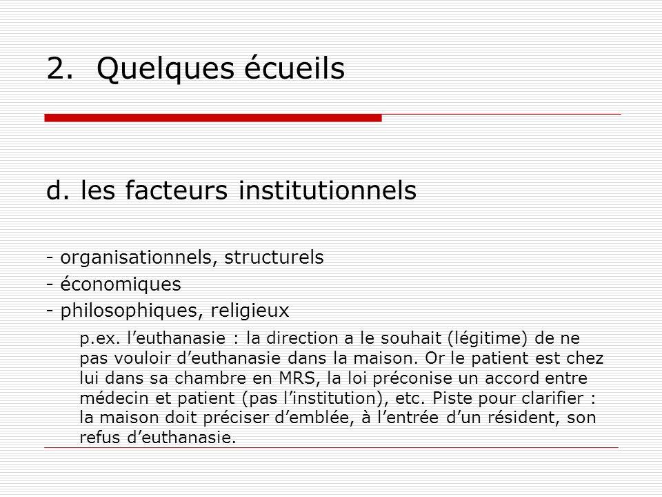 2. Quelques écueils d. les facteurs institutionnels