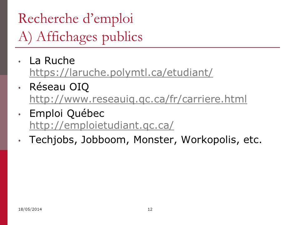 Recherche d'emploi A) Affichages publics