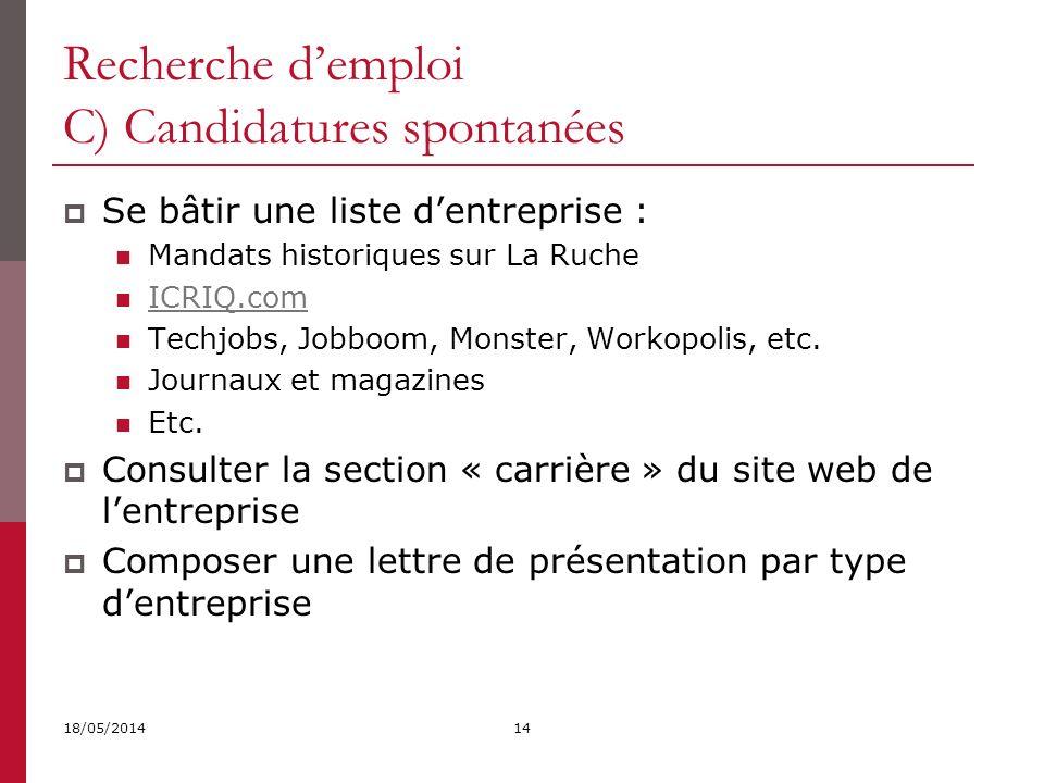 Recherche d'emploi C) Candidatures spontanées