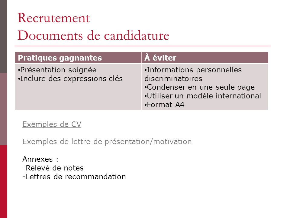 Recrutement Documents de candidature
