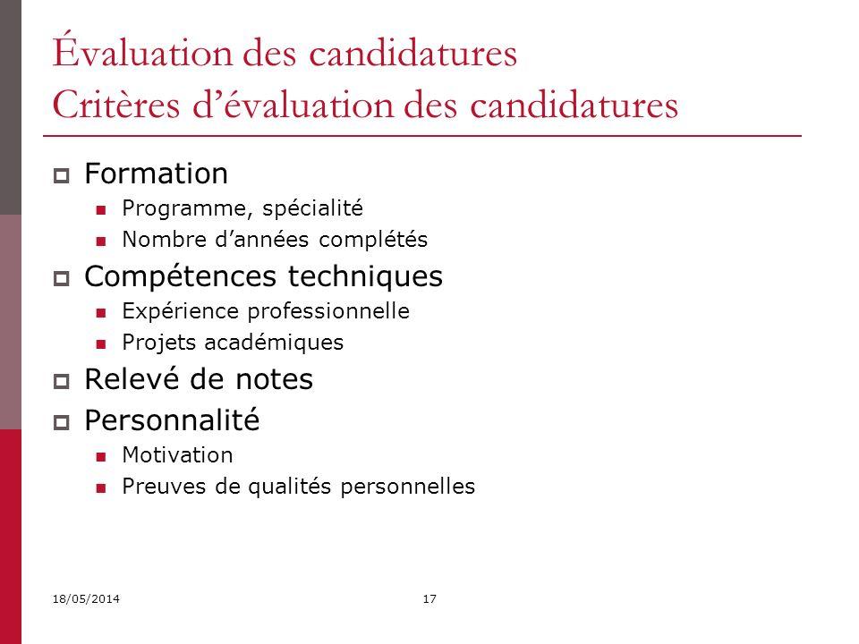 Évaluation des candidatures Critères d'évaluation des candidatures