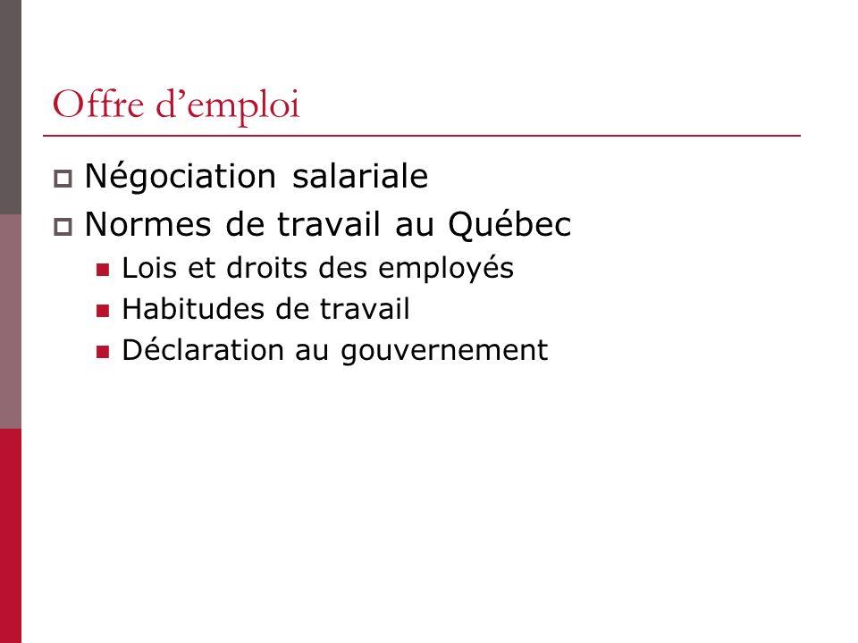 Offre d'emploi Négociation salariale Normes de travail au Québec