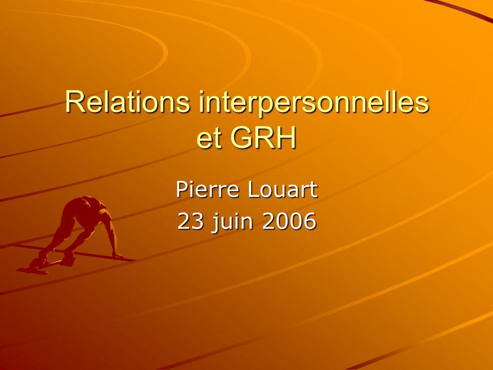 Relations interpersonnelles et GRH