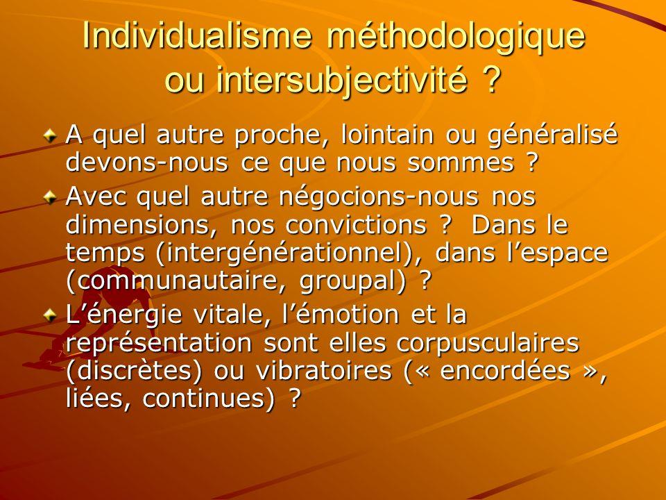 Individualisme méthodologique ou intersubjectivité