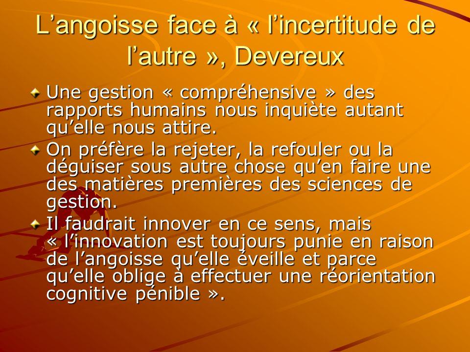 L'angoisse face à « l'incertitude de l'autre », Devereux