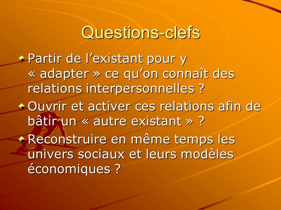Questions-clefs Partir de l'existant pour y « adapter » ce qu'on connaît des relations interpersonnelles