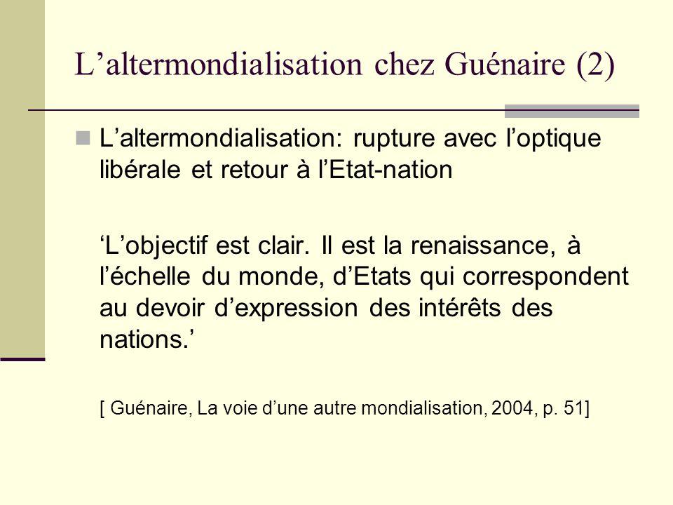 L'altermondialisation chez Guénaire (2)