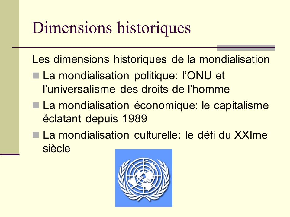 Dimensions historiques