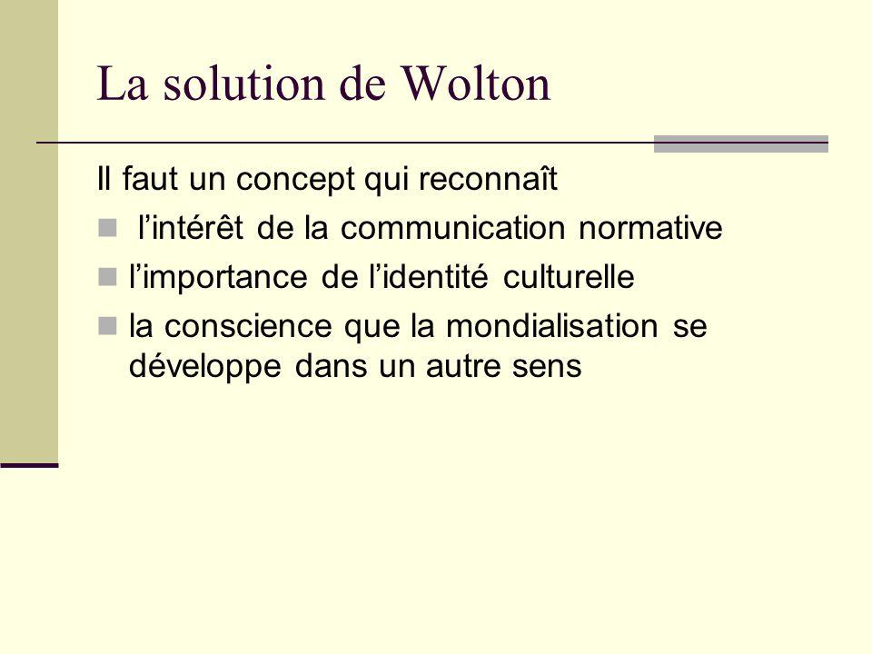 La solution de Wolton Il faut un concept qui reconnaît
