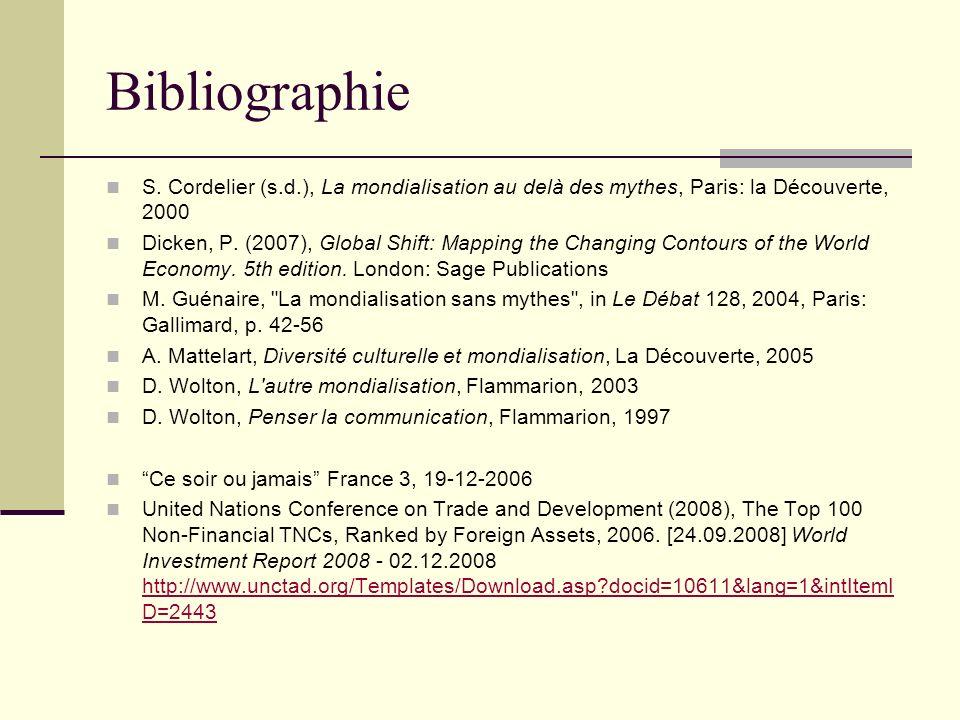 Bibliographie S. Cordelier (s.d.), La mondialisation au delà des mythes, Paris: la Découverte, 2000.