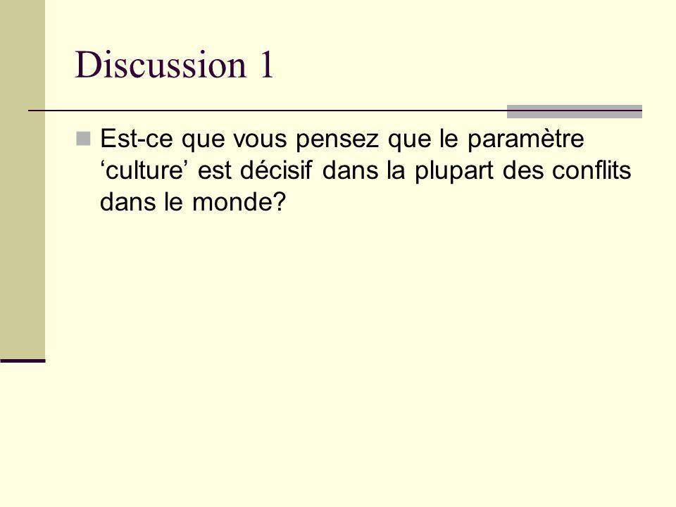 Discussion 1 Est-ce que vous pensez que le paramètre 'culture' est décisif dans la plupart des conflits dans le monde