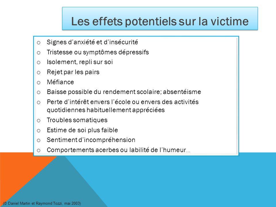 Les effets potentiels sur la victime