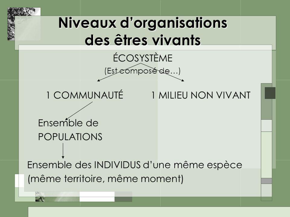 Niveaux d'organisations des êtres vivants
