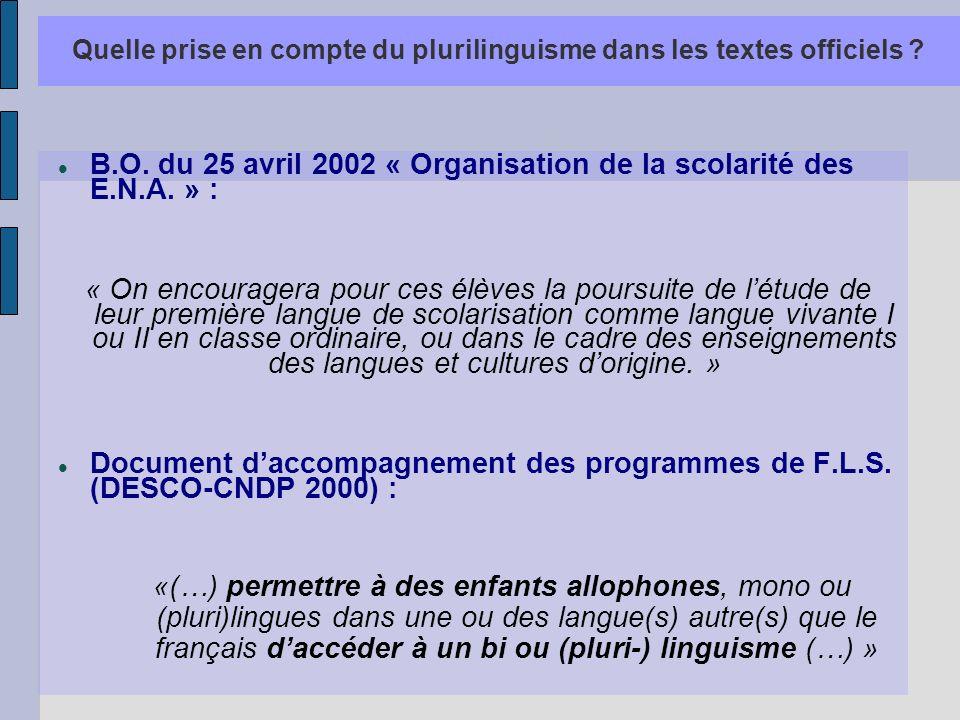 Quelle prise en compte du plurilinguisme dans les textes officiels