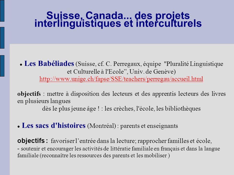 Suisse, Canada... des projets interlinguistiques et interculturels