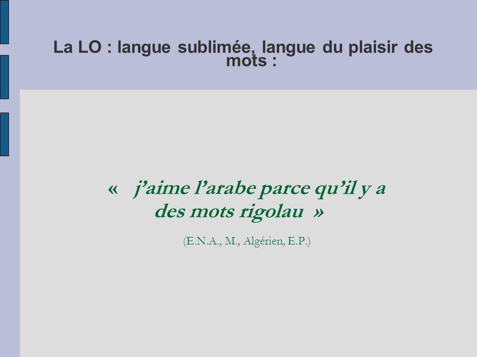 La LO : langue sublimée, langue du plaisir des mots :