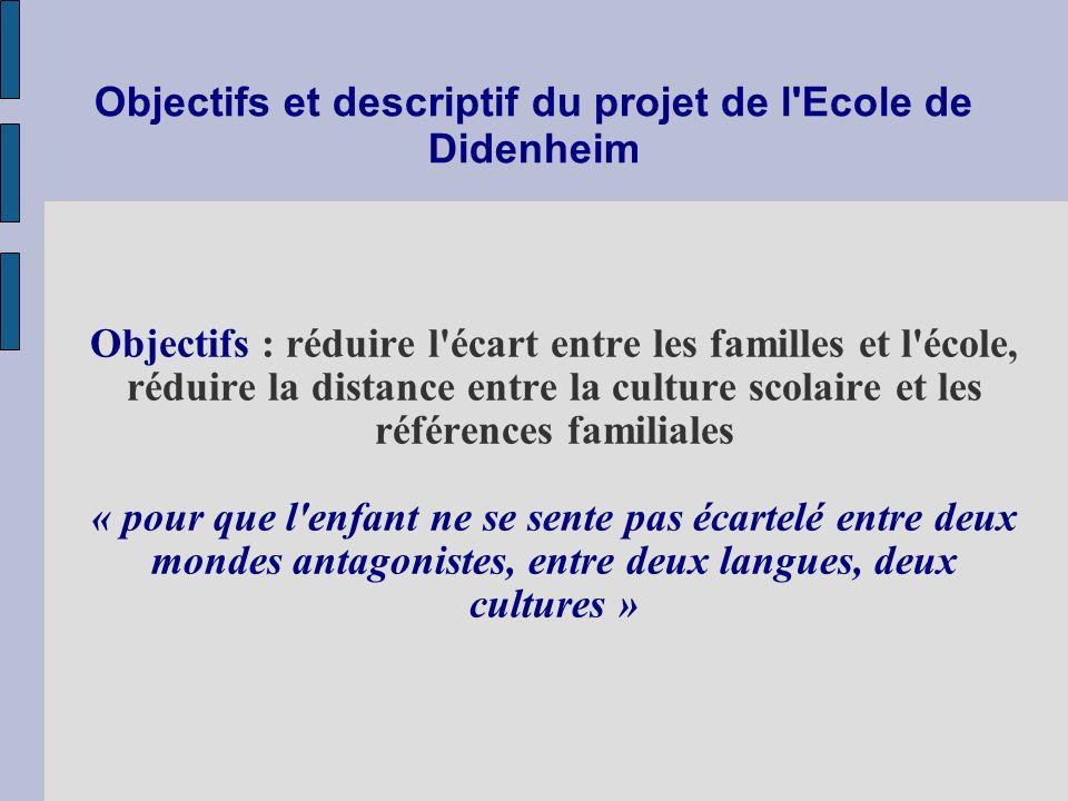 Objectifs et descriptif du projet de l Ecole de Didenheim