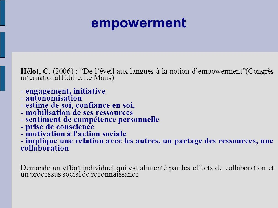 empowerment - engagement, initiative - autonomisation