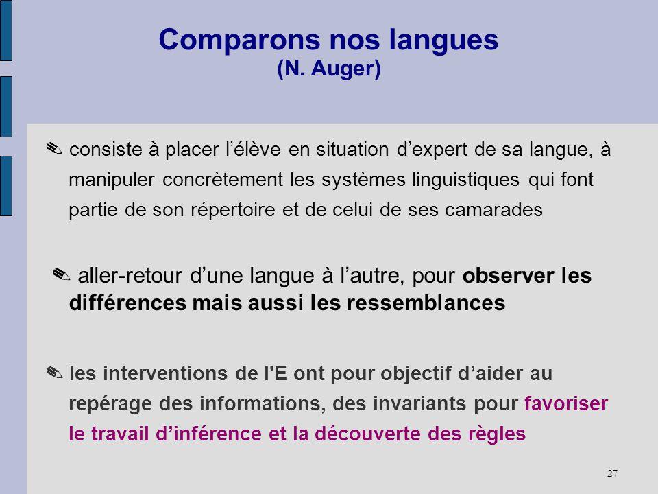 Comparons nos langues (N. Auger)