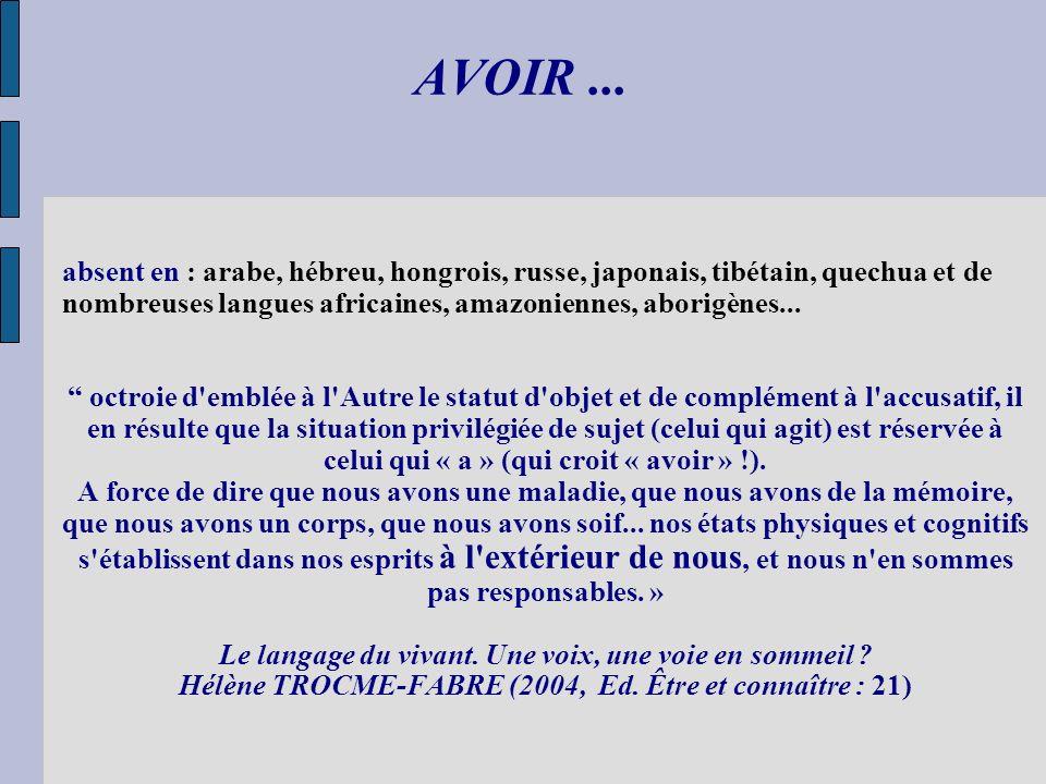 AVOIR ... absent en : arabe, hébreu, hongrois, russe, japonais, tibétain, quechua et de nombreuses langues africaines, amazoniennes, aborigènes...