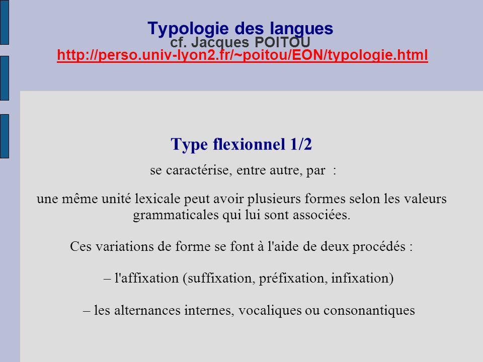 Typologie des langues cf. Jacques POITOU http://perso. univ-lyon2