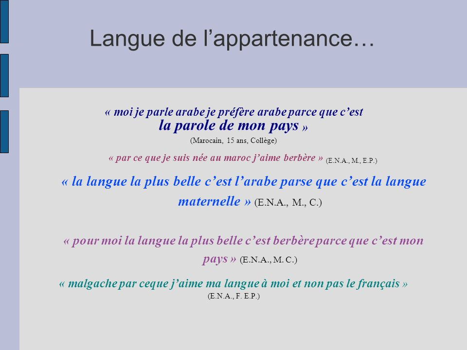 Langue de l'appartenance…
