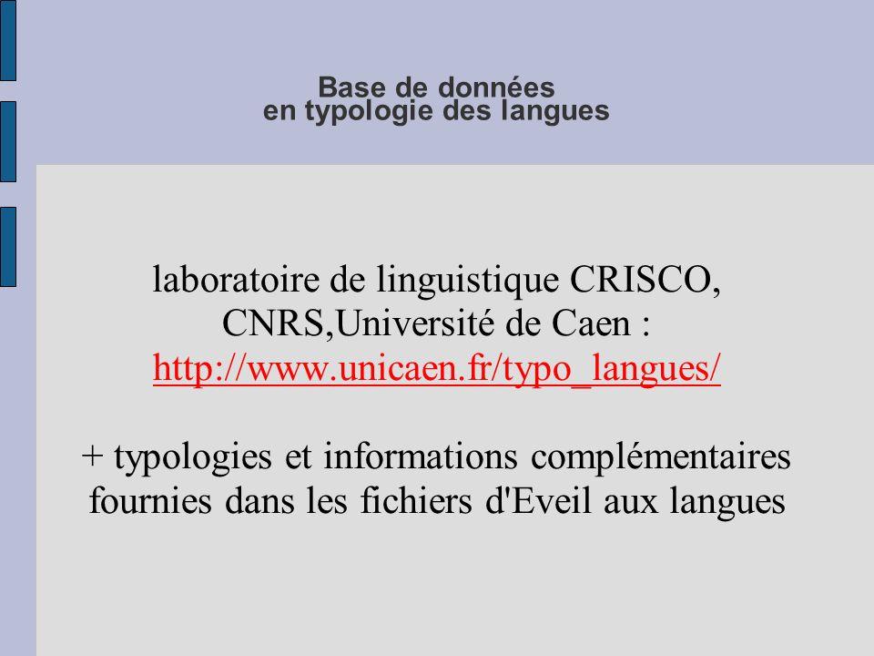 Base de données en typologie des langues