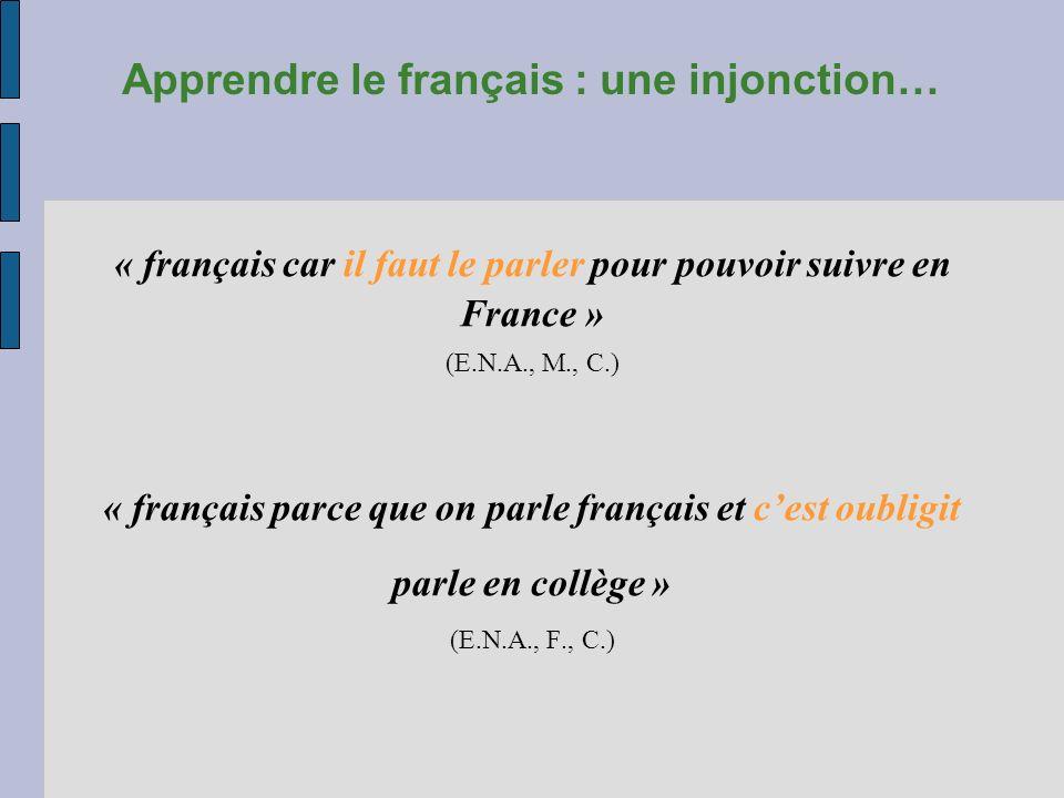 Apprendre le français : une injonction…