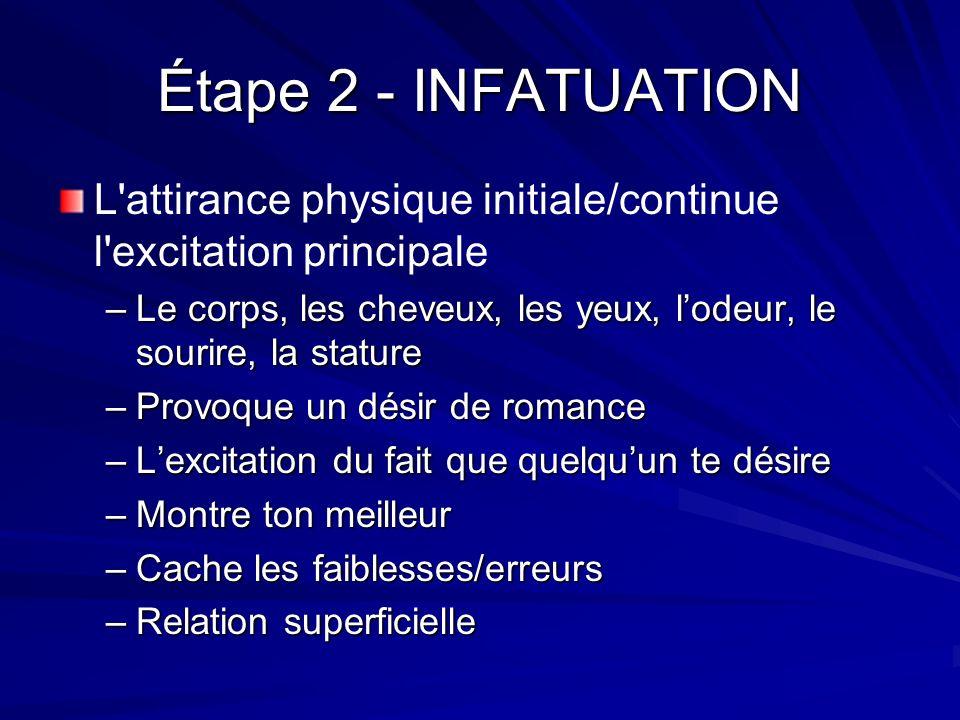 Étape 2 - INFATUATION L attirance physique initiale/continue l excitation principale.